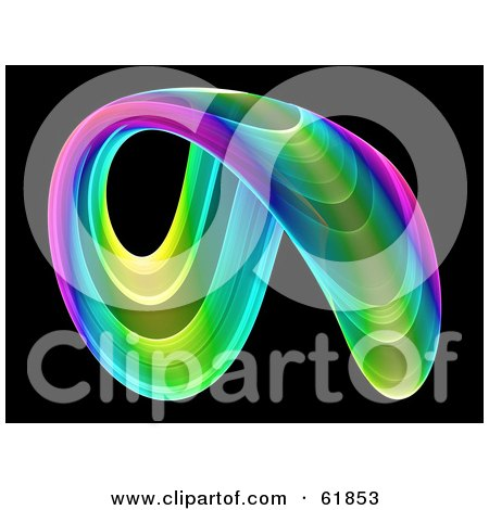 Royalty-free (RF) Clipart Illustration of an Arched Circular Fractal On Black by ShazamImages