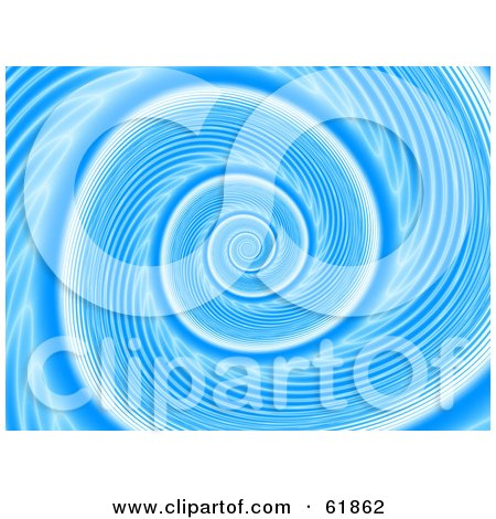 Royalty-free (RF) Clipart Illustration of a Blue Swirling Whirlpool Fractal Background by ShazamImages