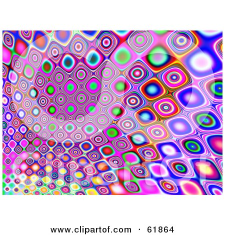 Royalty-free (RF) Clipart Illustration of a Colorful Retro Styled Patterned Tile Background - Version 2 by ShazamImages
