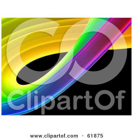 Royalty-free (RF) Clipart Illustration of a Curving Colorful Fractal On Black by ShazamImages