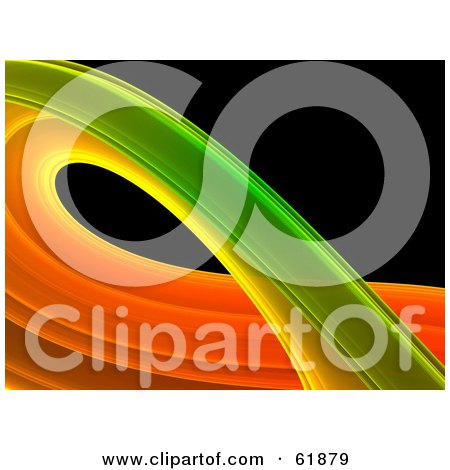 Royalty-free (RF) Clipart Illustration of a Curving Green And Orange Fractal On Black by ShazamImages