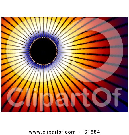 Royalty-free (RF) Clipart Illustration of a Solar Eclipse Background With Bright Red And Orange Rays Of Light by ShazamImages