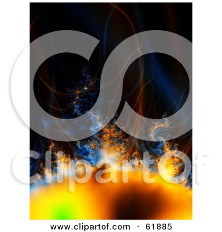Royalty-free (RF) Clipart Illustration of a Solar Storm With Heat Waves And Gasses by ShazamImages