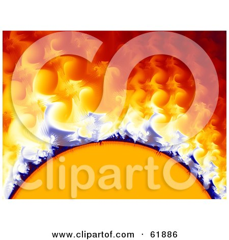 Royalty-free (RF) Clipart Illustration of a Solar Storm Fractal Background With Curling Gasses And Heat by ShazamImages