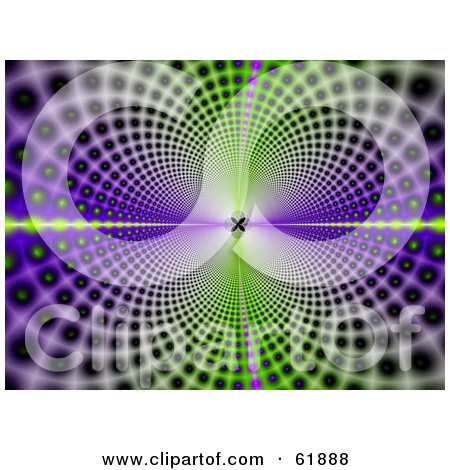 Royalty-free (RF) Clipart Illustration of a Background Of Psychedelic Green And Purple Circles Leading And Reflecting Into The Distance by ShazamImages