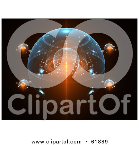 Royalty Free RF Clipart Illustration Of A Fractal Space Ship Hovering In Outer Space