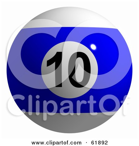 Royalty-free (RF) Clipart Illustration of a 3d Billiard Pool Ball; Blue Stripe 10 by ShazamImages