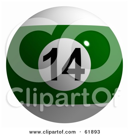 Royalty-free (RF) Clipart Illustration of a 3d Billiard Pool Ball; Green Stripe 14 by ShazamImages