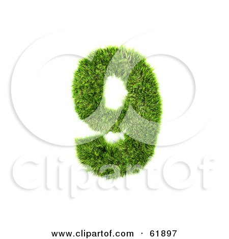 Royalty-free (RF) Clipart Illustration of a Green 3d Grassy Number; 9 by chrisroll