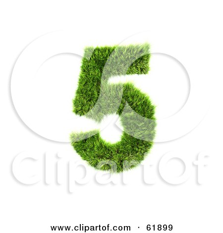 Royalty-free (RF) Clipart Illustration of a Green 3d Grassy Number; 5 by chrisroll