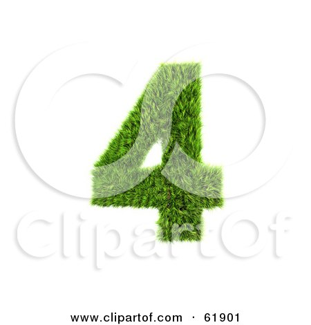 Royalty-free (RF) Clipart Illustration of a Green 3d Grassy Number; 4 by chrisroll