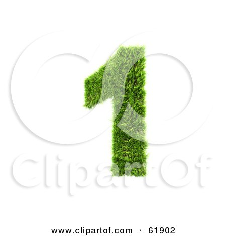 Royalty-free (RF) Clipart Illustration of a Green 3d Grassy Number; 1 by chrisroll