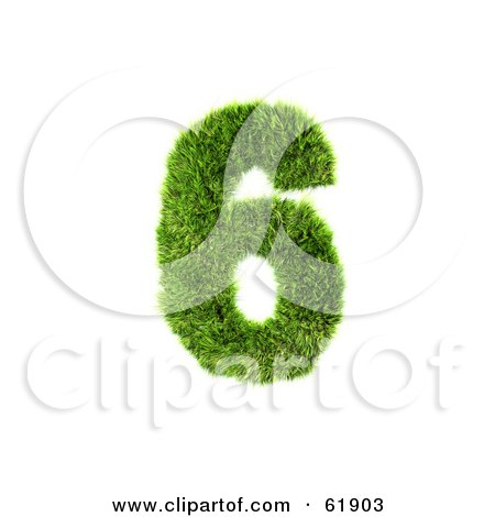 Royalty-free (RF) Clipart Illustration of a Green 3d Grassy Number; 6 by chrisroll