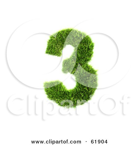 Royalty-free (RF) Clipart Illustration of a Green 3d Grassy Number; 3 by chrisroll