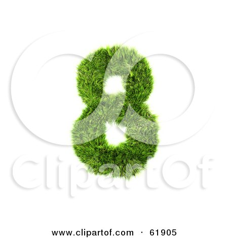 Royalty-free (RF) Clipart Illustration of a Green 3d Grassy Number; 8 by chrisroll
