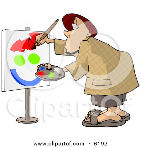 Amateur Caricaturist Practising His Painting Skills Clipart Picture by djart