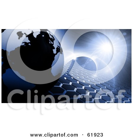 Royalty-free (RF) Clipart Illustration of a 3d Globe On A Blue Hexagon Tiled Background With Flares Of Light by chrisroll