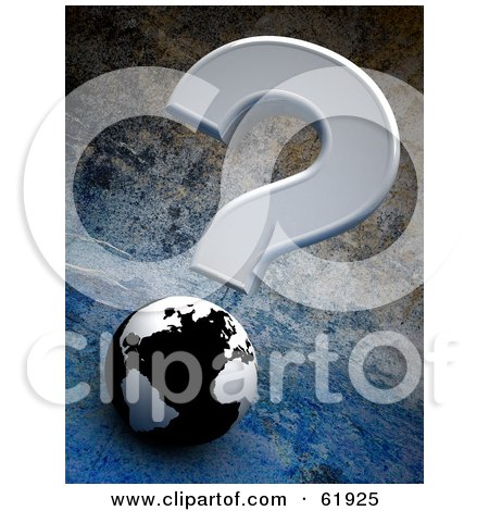 Royalty-free (RF) Clipart Illustration of a Gray Question Mark Over A 3d Black And White Globe On A Cement Background by chrisroll