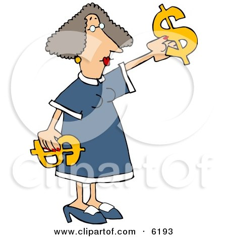 Money Woman Putting Decorating with Dollar Signs Clipart Picture by djart