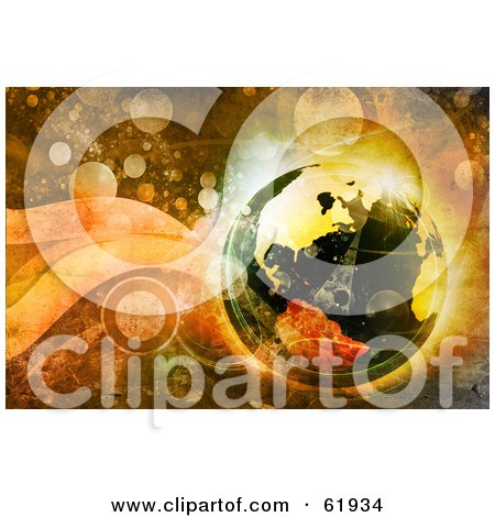 Royalty-free (RF) Clipart Illustration of a 3d Futuristic Globe On A Grungy Retro Background Of Bubbles by chrisroll