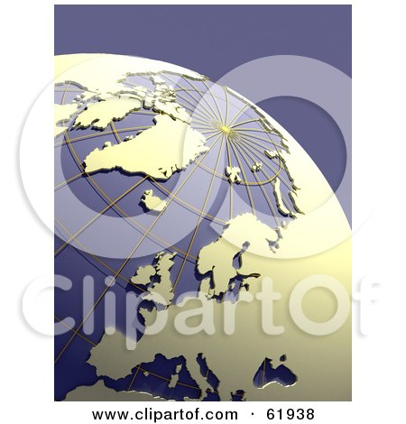 Royalty-free (RF) Clipart Illustration of a Grid Globe With Beige Continents, On Purple by chrisroll