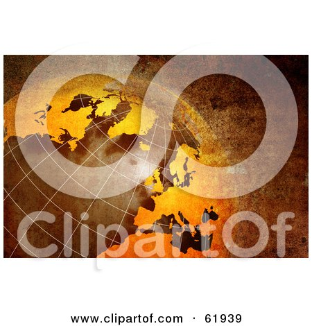 Royalty-free (RF) Clipart Illustration of a 3d Rusty Globe With Grid Lines And Texture by chrisroll