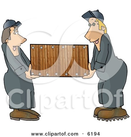 Two Men (Movers) Moving a Piece of Furniture Clipart Picture by djart
