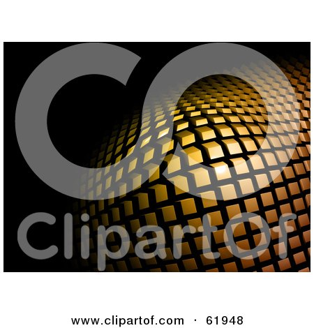 Royalty-free (RF) Clipart Illustration of a Raised 3d Background Of Golden Tiles On Black by chrisroll