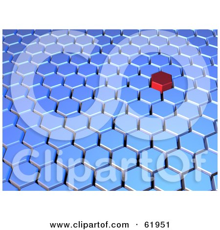 Royalty-free (RF) Clipart Illustration of a 3d Red Hexagon Tile Standing Out In Blue Tiles by chrisroll