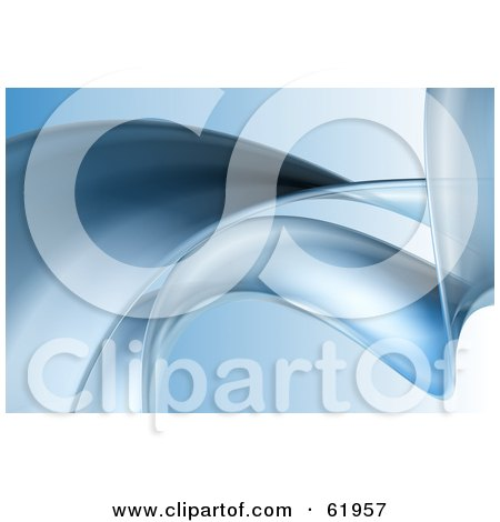 Royalty-free (RF) Clipart Illustration of a Background Of A Smooth Blue Curling Wave On Blue by chrisroll