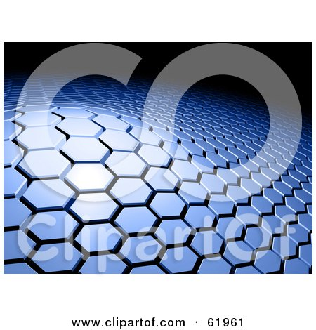 Royalty-free (RF) Clipart Illustration of a Raised Section Of A Blue Hexagon Tiled 3d Background Against Black by chrisroll