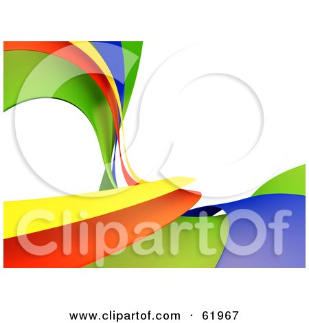 Royalty-free (RF) Clipart Illustration of a Background Of Vibrant Yellow, Orange, Green And Blue Waves On White by chrisroll