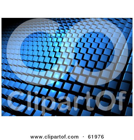 Royalty-free (RF) Clipart Illustration of a Background Of Blue 3d Square Tiles by chrisroll