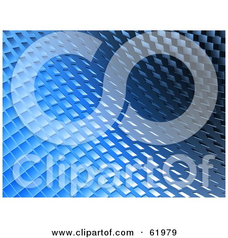 Royalty-free (RF) Clipart Illustration of a 3d Blue Curving Tiled Background by chrisroll