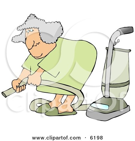 Senior Woman Adjusting an Attachment on a Vacuum Clipart Picture by djart