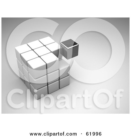 Royalty-free (RF) Clipart Illustration of a 3d Nearly Completed Puzzle Cube With A Black Piece Floating by chrisroll