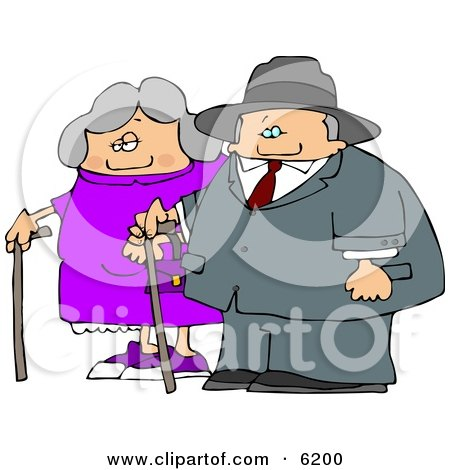 Old Man and Old Woman Walking Side by Side While Using Canes Clipart Picture by djart