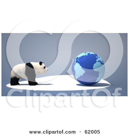 Royalty-free (RF) Clipart Illustration of an Endangered Panda Facing A Blue 3d Globe On A Gray Background by chrisroll