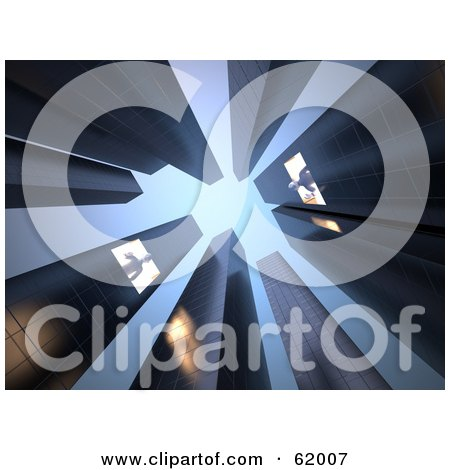 Royalty Free RF Clipart Illustration Of A 3d Upwards View Of Tall Skyscrapers And People Reaching Down