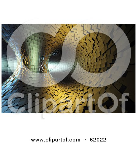 Royalty-free (RF) Clipart Illustration of a Bright Light Shining Through A Tile Tunnel by chrisroll