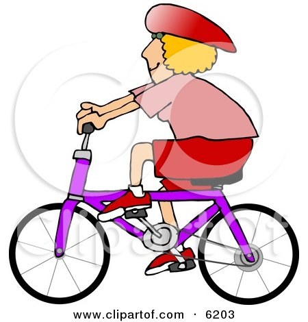 Woman Wearing a Helmet and Riding a Bicycle Clipart Picture by djart
