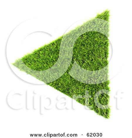Royalty-free (RF) Clipart Illustration of a 3d Grassy Green Triangle Arrow by chrisroll