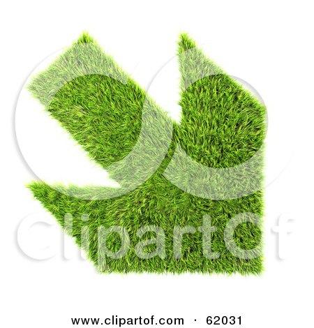 Royalty-free (RF) Clipart Illustration of a 3d Grassy Green Down Arrow by chrisroll