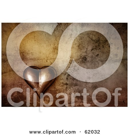 Royalty-free (RF) Clipart Illustration of a 3d Heart On A Grunge Background by chrisroll