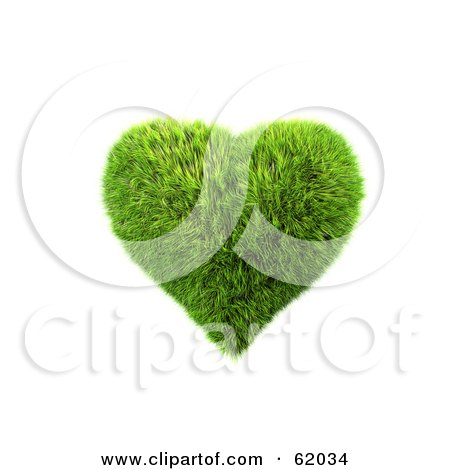 Royalty-free (RF) Clipart Illustration of a 3d Grassy Green Heart by chrisroll