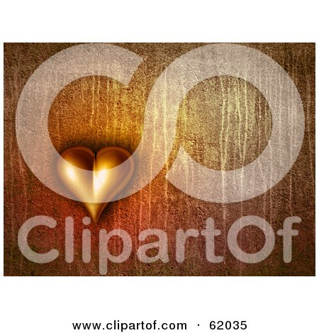 Royalty-free (RF) Clipart Illustration of a 3d Heart On A Dripping Rust Background by chrisroll