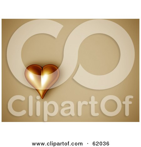 Royalty-free (RF) Clipart Illustration of a 3d Golden Heart On A Beige Background With Copyspace by chrisroll