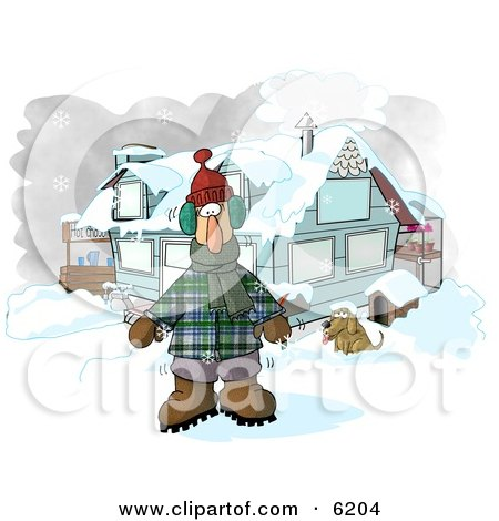 Man In Winter Clothes Standing By A House With A Dog And Hot Chocolate Stand Clipart
