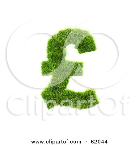 Royalty-free (RF) Clipart Illustration of a 3d Grassy Green Pound Symbol by chrisroll