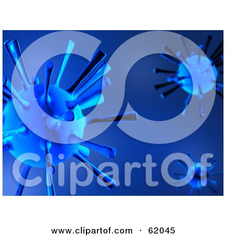 Royalty-free (RF) Clipart Illustration of a Blue Background Of 3d Viruses by chrisroll